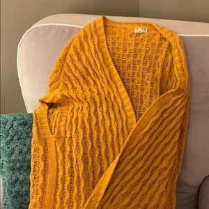 Anthropologie long mustard cable knit sweater